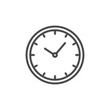 Clock outline icon. linear style sign for mobile concept and web design. Watch simple line vector icon. Symbol, logo illustration. Pixel perfect vector graphics