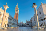 Venice sunrise, famous San Marco square at sunrise in Venice, Italy.