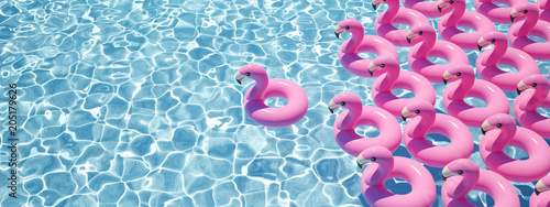 Leinwandbild Motiv 3D rendering. a lot of flamingo floats in a pool