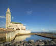 Quadro view to mosque of Hassan II with sunlight and sea waterloo in Casablanca in Morocco