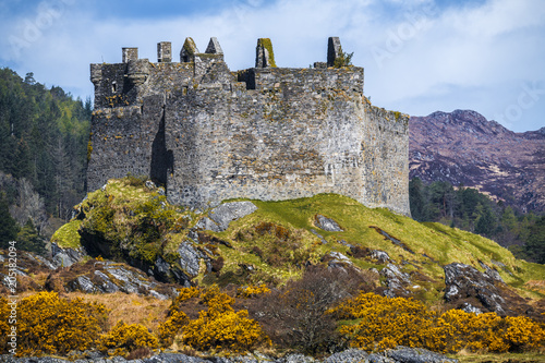 View of Castle Tioram on the west coast of the Highlands of Scotland, near Acharacle.