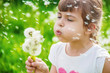 girl blowing dandelions in the air. selective focus. - 205183200