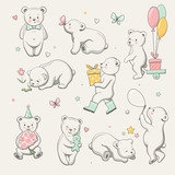 Cute little bear collection. Perfect for baby shower celebration greeting card, stickers, invitation, t-shirt print, fashion design, kids wear. Cartoon hand drawn style, vector illustration. - 205184049