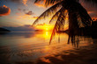 Beautiful bright colorful stunning sunset on a tropical beach on a paradise island
