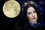 Woman, space, full moon