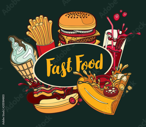 Vector cover of fast food menu with ice cream, cola, Burger, pizza, French fries and hotdog in retro style. Cartoon illustration with handwritten inscription. Fast food, healthy and unhealthy food