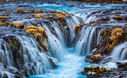 Secret Bruarfoss waterfall in winter Iceland