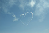 Retro planes painted with smoke in sky heart - 205188278