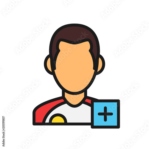 injured player icon. man with plus mark. simple illustration outline style sport symbol.