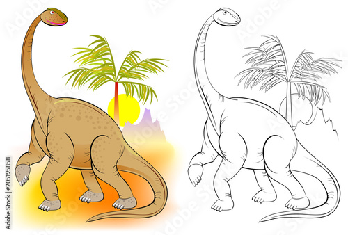 Fototapeta Colorful and black and white pattern for coloring. Illustration of cute dinosaur. Worksheet for children and adults. Vector image.