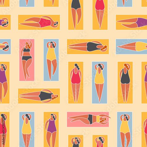 Cotton fabric Summer people on the beach. Vector illustrationBasic RGB