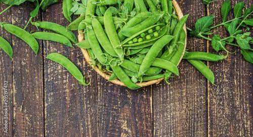 Poster peas green. selective focus.