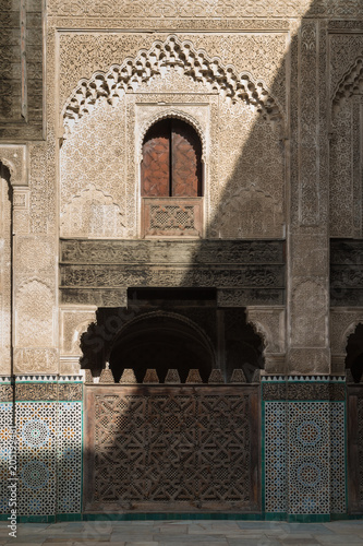 Detail of the architecture of Madrasa Bou Inania, Fez, Morocco