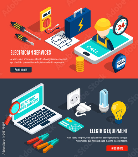 Electricity Isometric Banner Set