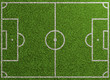 Leinwanddruck Bild - Fußballfeld von oben mit Linien auf Rasen