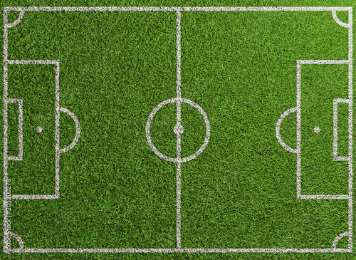 Leinwandbild Motiv Fußballfeld von oben mit Linien auf Rasen