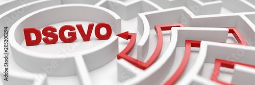Leinwanddruck Bild DSGVO als Ziel in einem Labyrinth als Erfolg Konzept