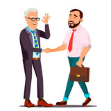 Happy Client Vector. Customer Person. Shaking Hands. Partnership. Important Client. Business Connection. Isolated Flat Cartoon Character Illustration - 205203086