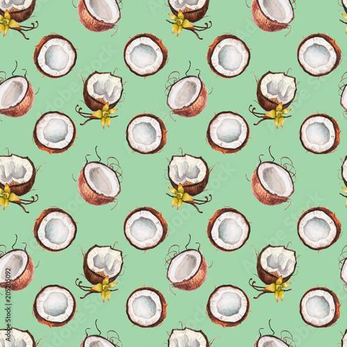 Watercolor vanilla coconut pattern