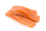 Fresh salmon fillet with basil on the white background. - 205206651