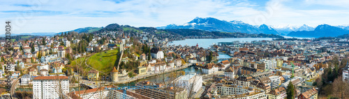 Fridge magnet Luzern skyline. Panorama. Luzern city skyline.