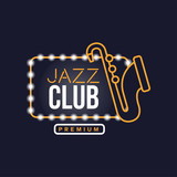 Jazz club neon sign, vintage bright glowing signboard, light banner vector Illustration