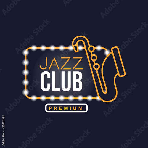 Jazz club neon sign, vintage bright glowing signboard, light banner vector Illustration