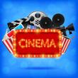 Cinema neon sign , Cinema background illustration