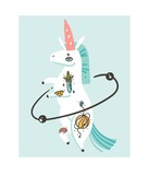 Hand drawn vector abstract graphic creative cartoon illustrations artwork with simple unicorn astronaut character with old school tattoo isolated on white background - 205214670