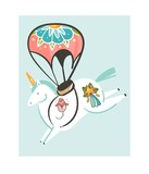 Hand drawn vector abstract graphic creative cartoon illustrations artwork with simple flight unicorn character with parachute and old school tattoo isolated on white background - 205214689
