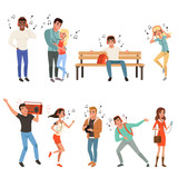 Set with people listening music. Young guys and girls with headphones, smartphones, record player. Flat vector design - 205215069