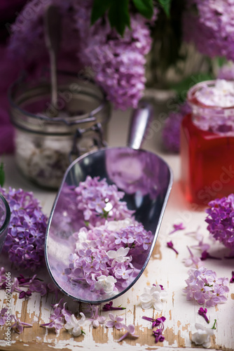 Poster LILAC syrup in glass jar.Style vintage