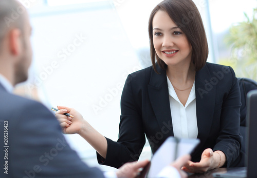 Business people working together at the desk in the office