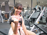 Training dumbbell in the gym
