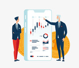 Vector illustration of two businessmen in front of the screen gadget with graphs of financial indicators. To illustrate financial articles, reports, blogs, news for posting on websites and print media - 205221216