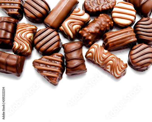 Assortment of chocolate candies sweets isolated