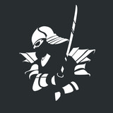 Silhouette of a samurai in armor with a katana on a black background