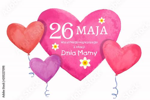Fototapeta Dzień Matki 26 Maja - kartka z życzeniami oraz balonikami w kształcie serca