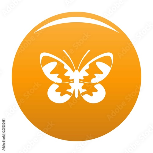 Butterfly with ornament icon. Simple illustration of butterfly with ornament vector icon for any design orange