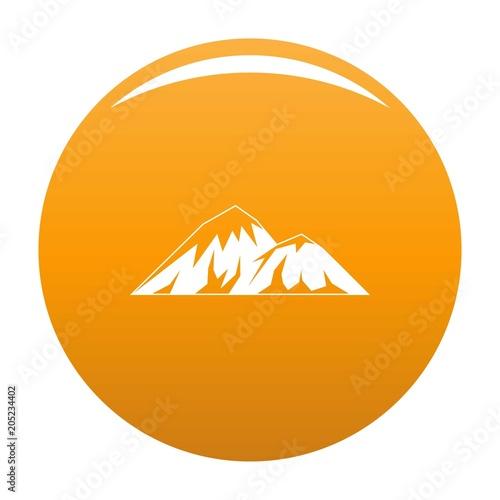 Climbing on mountain icon. Simple illustration of climbing on mountain vector icon for any design orange