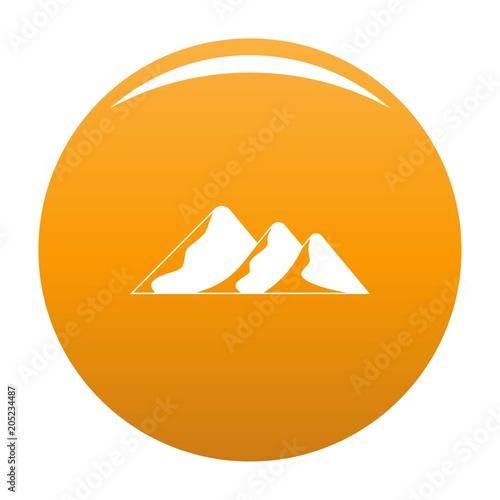 Travel to mountain icon. Simple illustration of travel to mountain vector icon for any design orange