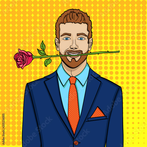 Canvas Pop Art Pop art man, businessman with a rose in his teeth. Imitation comic style, vector