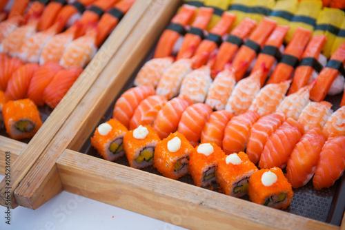 Fotobehang Sushi bar Sushi set on tray ready for eat