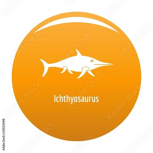 Ichthyosaurus icon. Simple illustration of ichthyosaurus vector icon for any design orange