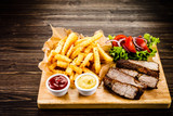 Grilled beefsteak with french fries and vegetables - 205241816