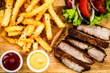 Grilled beefsteak with french fries and vegetables - 205241848