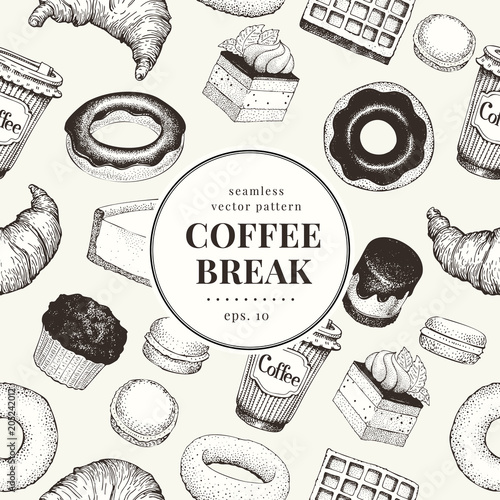 Poster Coffee break banner template. Dessert background. Vector hand drawn seamless pattern. Food vintage style. Can be use for bakery and cafe menu.