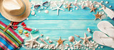 Beach Accessories With Seashells On Wooden Board - 205243857