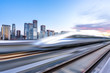 high speed train with panoramic city skyline in beijing china