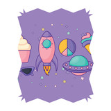 abstract frame with rockets and spaceships pattern over white background, vector illustration